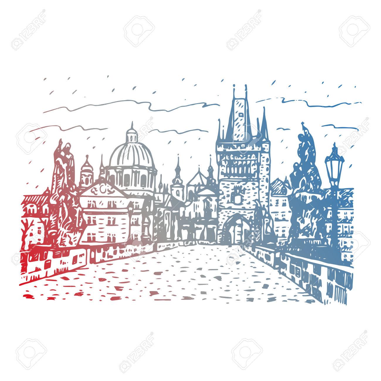 View From Charles Bridge, Prague, Czech Republic. Vector Hand.