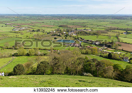 Stock Image of View from Glastonbury Tor k13932245.