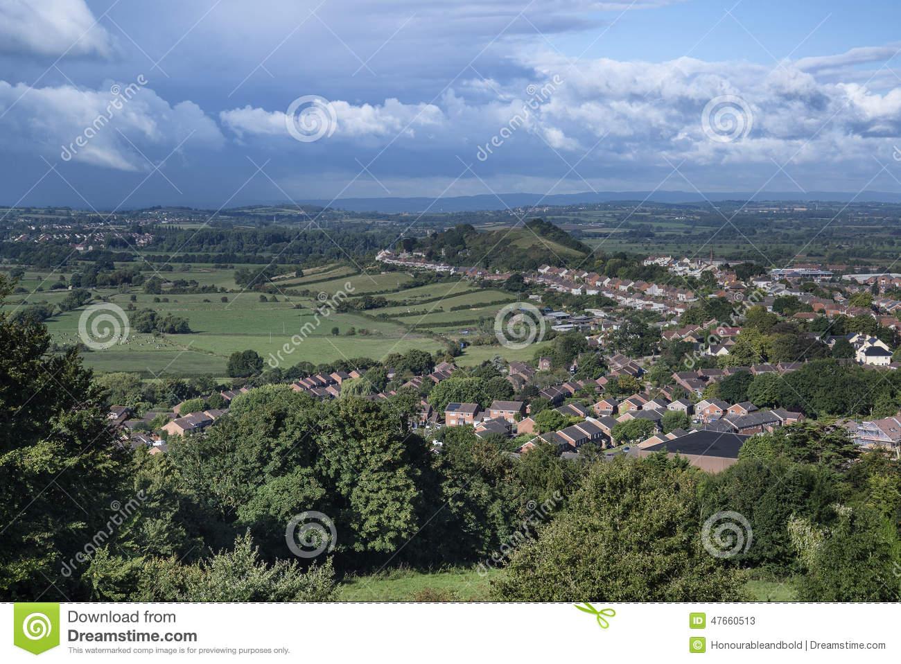 View From Top Of Glastonbury Tor Overlooking Glastonbury Town In.