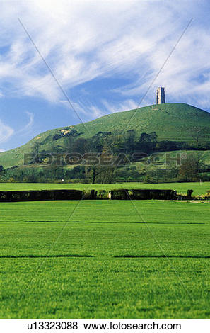 Pictures of Glastonbury Tor, A sacred site along the English.