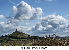 Stock Image of Beautiful landscape view of Glastonbury Tor on.