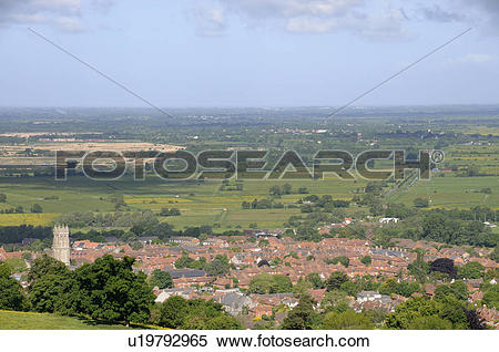 Stock Image of England, Somerset, Glastonbury. View from.