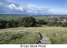 Stock Photography of View from Glastonbury Tor Somerset.