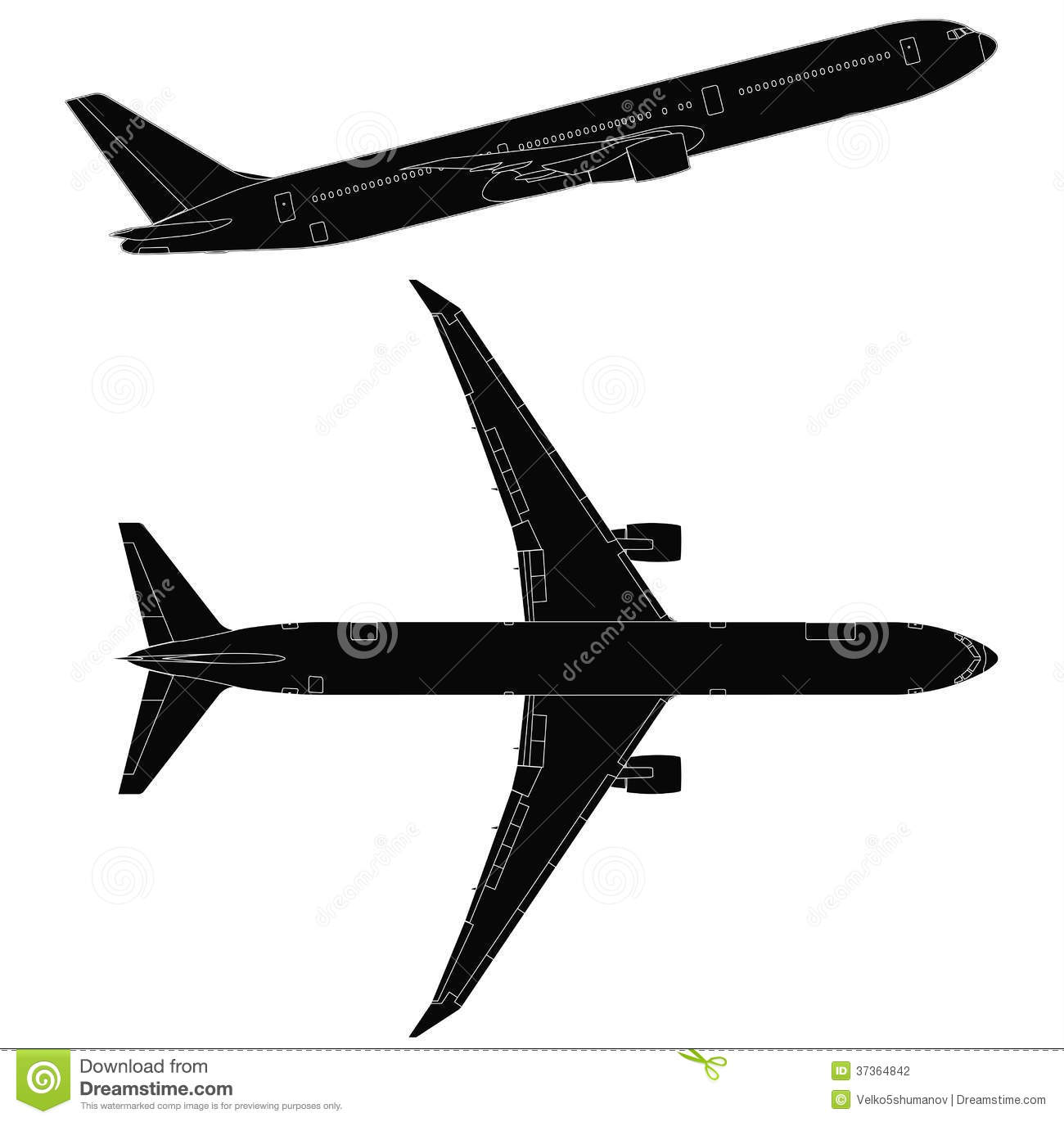 Airplane clipart side view.