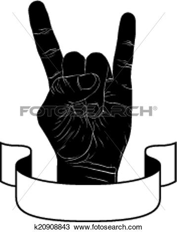 Clipart of Rock on hand creative sign with ribbon, music emblem.
