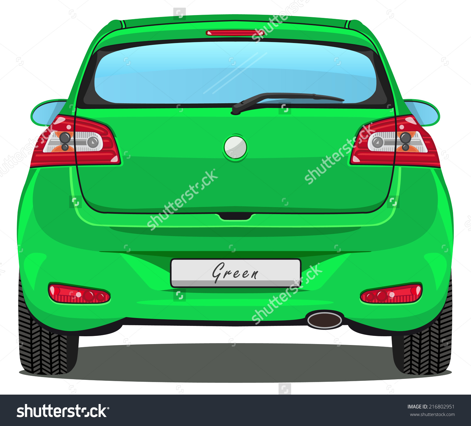 Vector Car Back View Green Without Stock Vector 216802951.