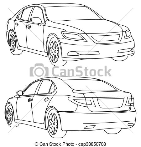 Vector Clipart of Vector car two view front and back.