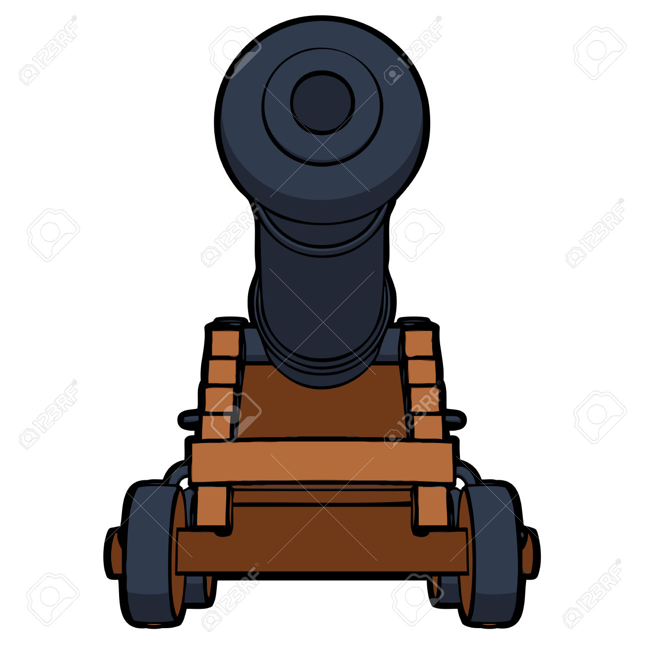 Naval Cannon With View From The Bottom Vector Royalty Free.