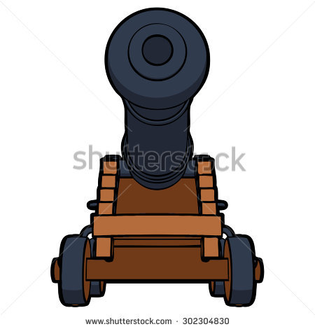 Civil War Cannon View Bottom Vector Stock Vector 302304824.