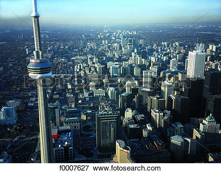 Picture of Ontario, Toronto and CN Tower, aerial view f0007627.
