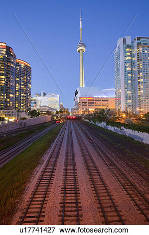 Picture of View of CN Tower and Toronto skyline at night, Toronto.