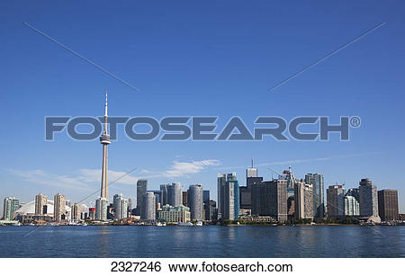 Stock Images of View over lake ontario of the downtown toronto.