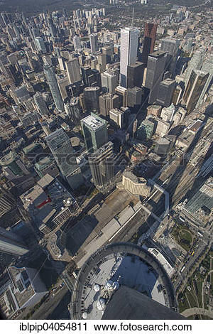 "Stock Photography of ""View of skyscrapers from CN Tower, Toronto."