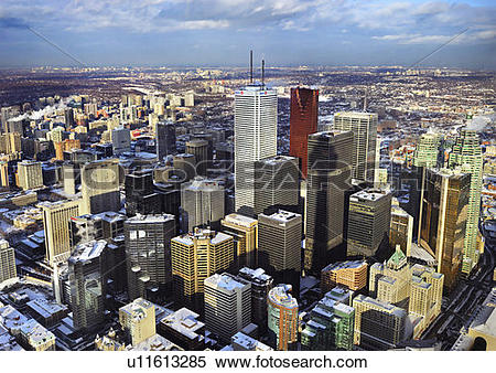 Stock Image of Aerial view from CN Tower on the Toronto city.