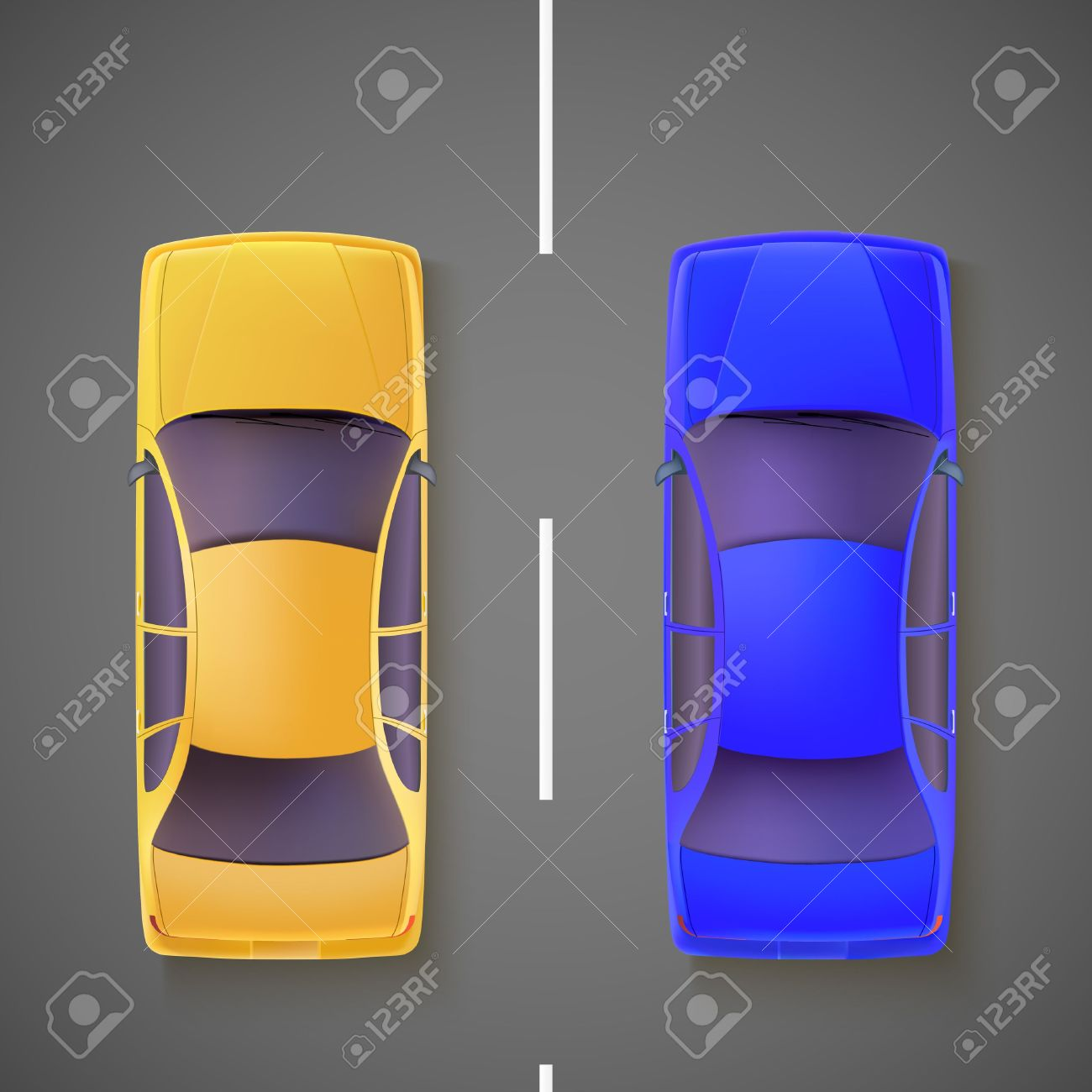 Yellow And Blue Cars On The Road, The View From The Top Royalty.