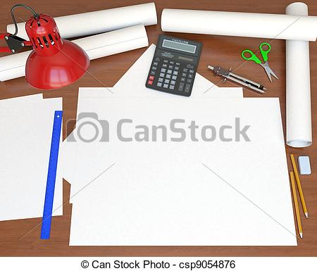 Stock Illustration of Desktop. View from the top. 3D rendering.