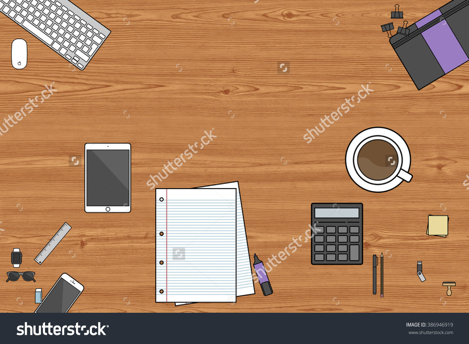 clipart stationery view from the top #386946919.