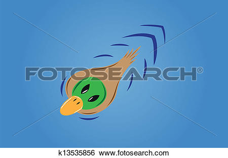 Clip Art of green duck on the blue water.