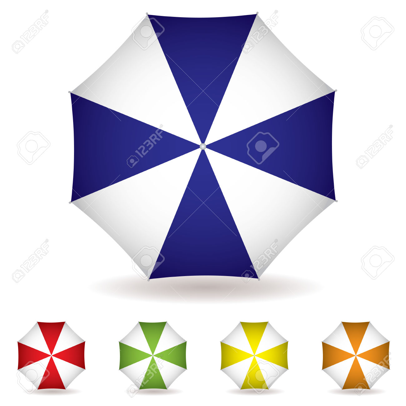 Umbrella Concept With A View From The Top And Multiple Colors.
