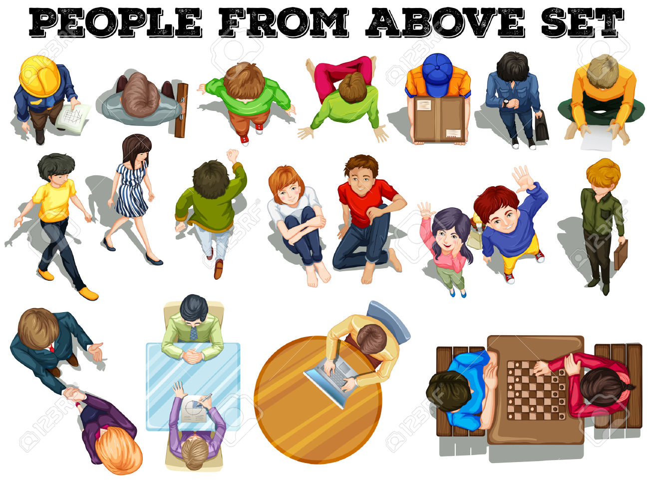 People From The Top View Illustration Royalty Free Cliparts.