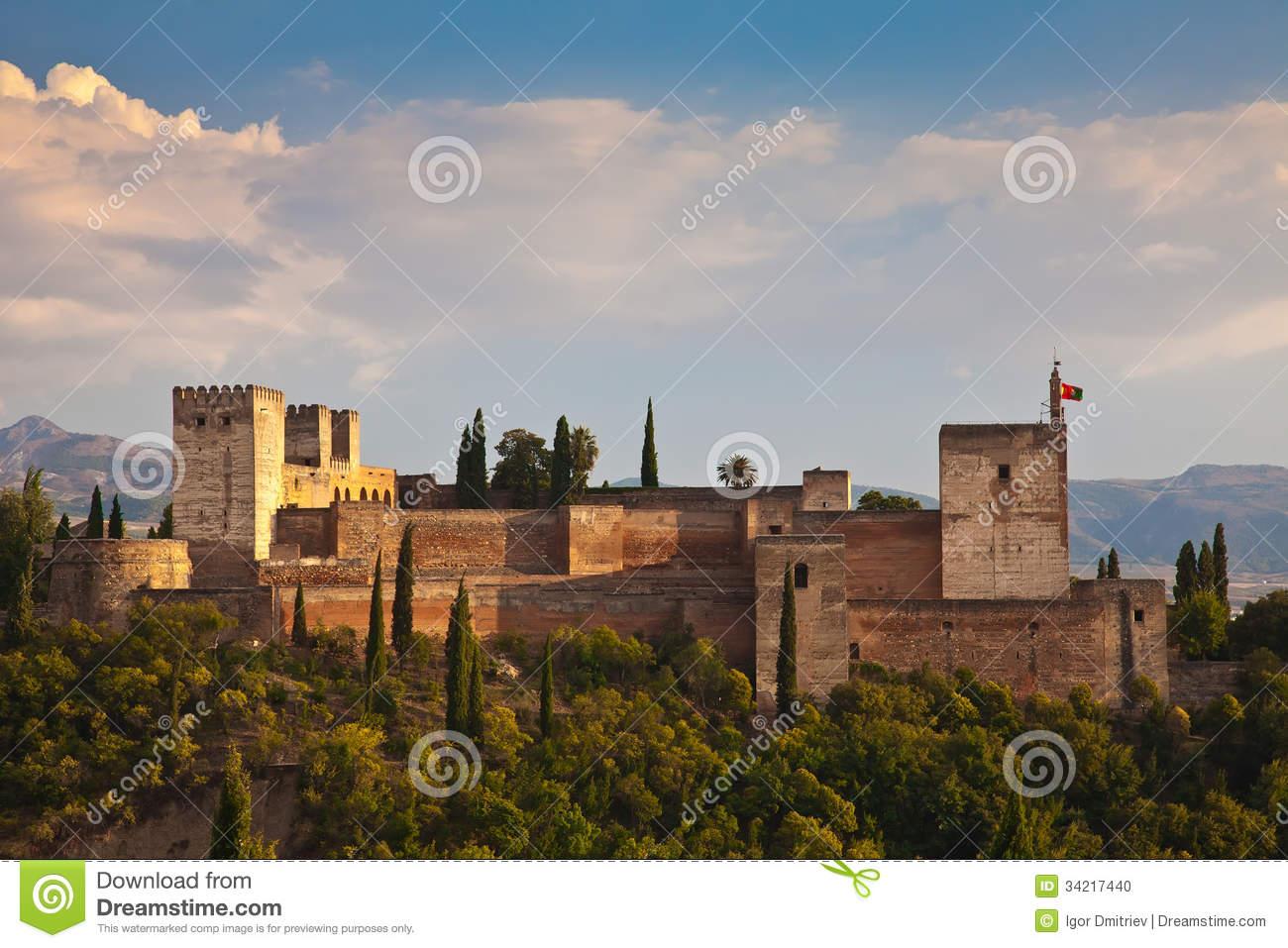 Ancient Arabic Fortress Of Alhambra, Granada, Spain Stock Photo.