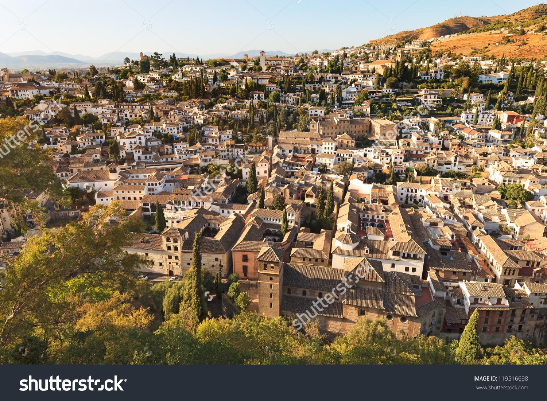 Granada Aerial Panoramic View Old Albaicin Stock Photo 119516698.