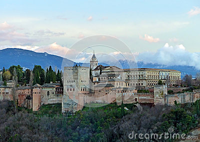 Aerial View Alhambra Palace Granada Stock Photos, Images.