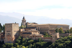 Arabic Fortress Of Alhambra At Top Of Granada, Spain. Stock Photo.