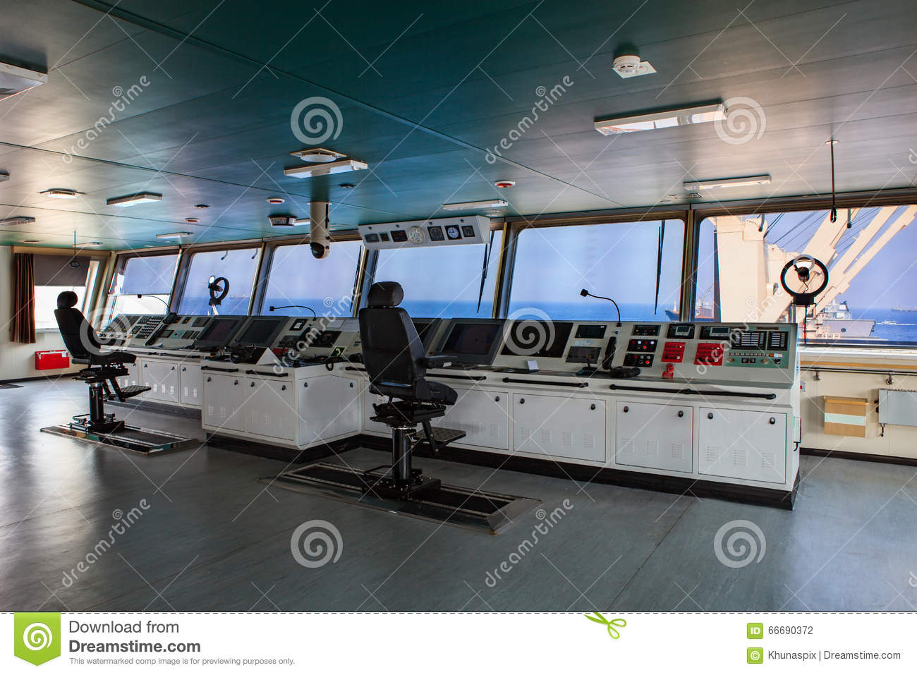 Wheelhouse Control Board Of Modern Industry Ship Approaching To.