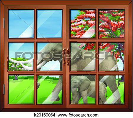 Clipart of A closed window with a view of the two elephants.