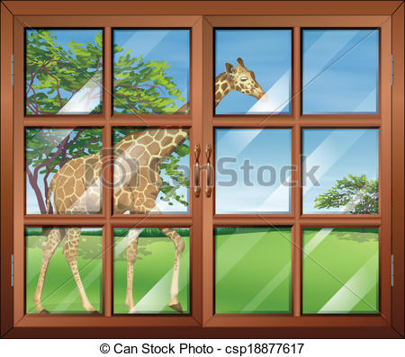 Vector Clip Art of A closed window with a view of the giraffe.