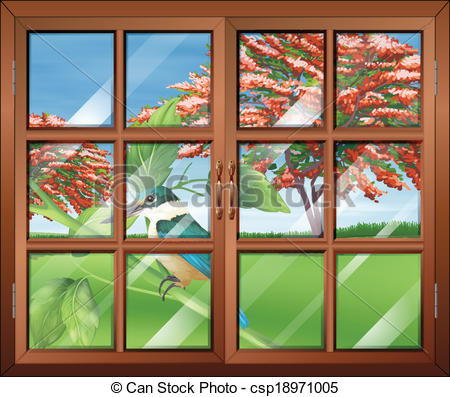 Vector Clipart of A closed window with a view of the bird outside.