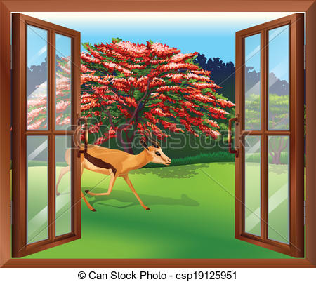Clipart Vector of A window with a view of the deer outside.