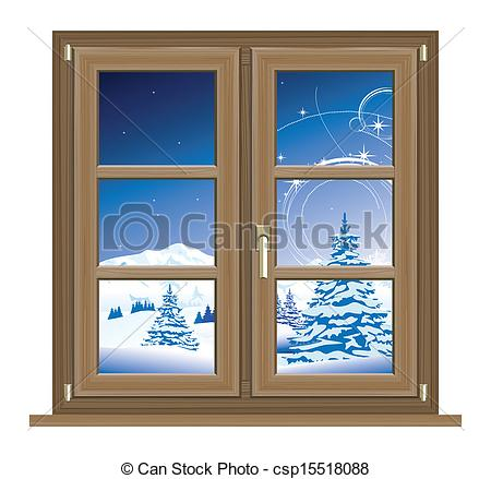 winter window clipart vector of view from the window winter.