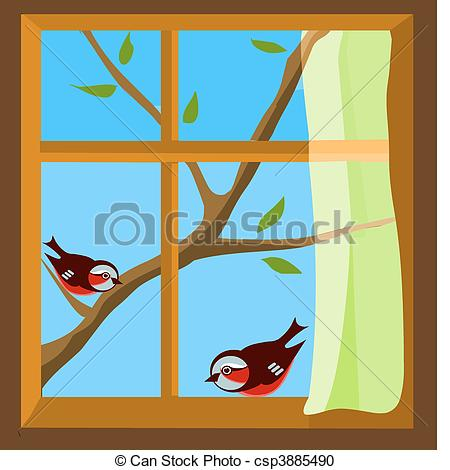 Vector Clipart of window with a view to two birds on spring branch.