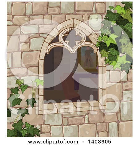 Cartoon of a View Through a Window on a Bedroom.