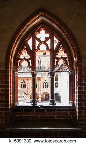 Stock Illustrations of Carved window opening in a medieval castle.