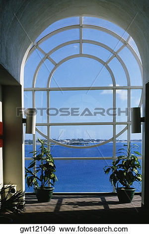 Stock Photograph of Seascape through a glass window, Castle harbor.