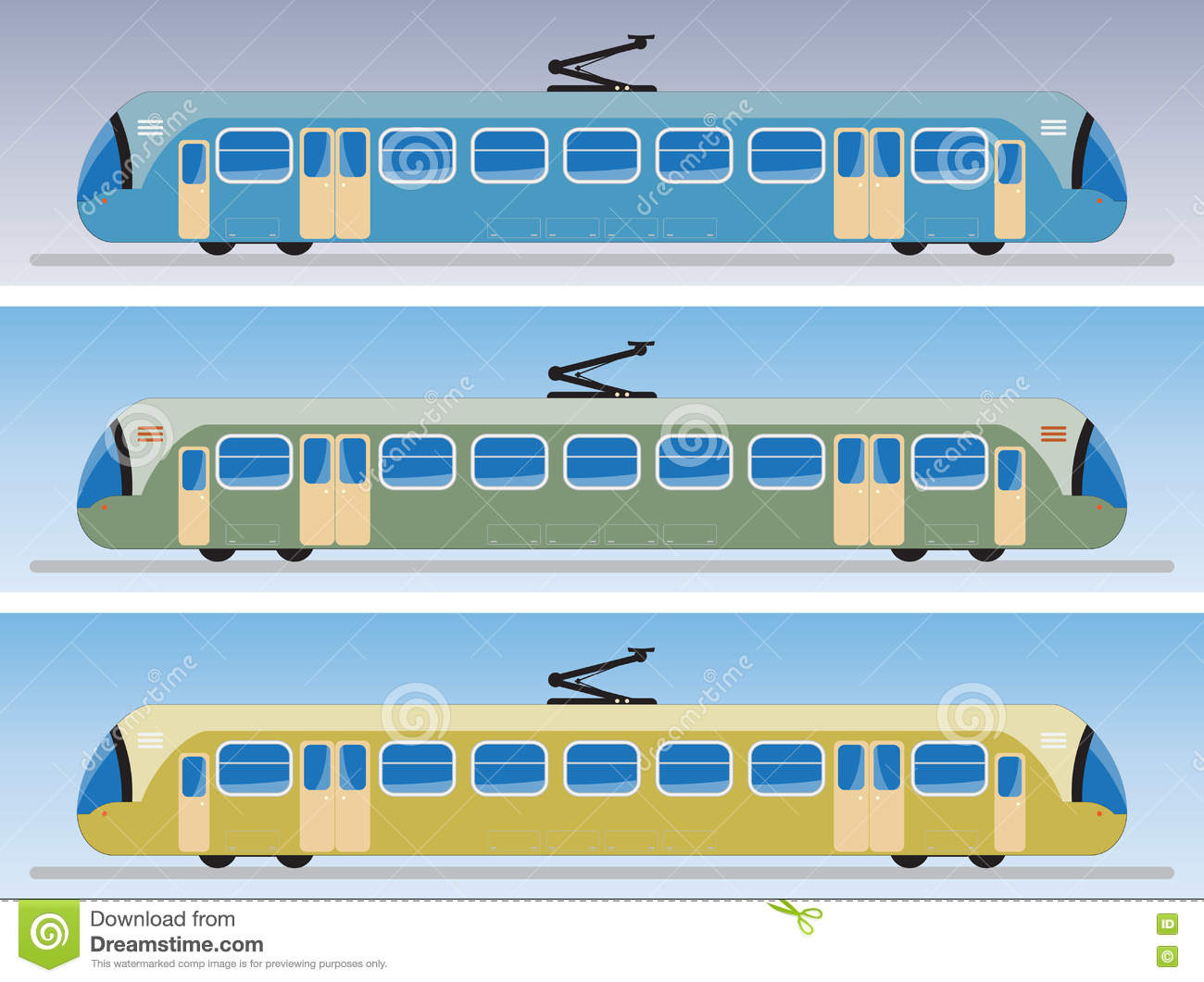 Side View Of Tram Car Or Trolley Car Stock Illustration.