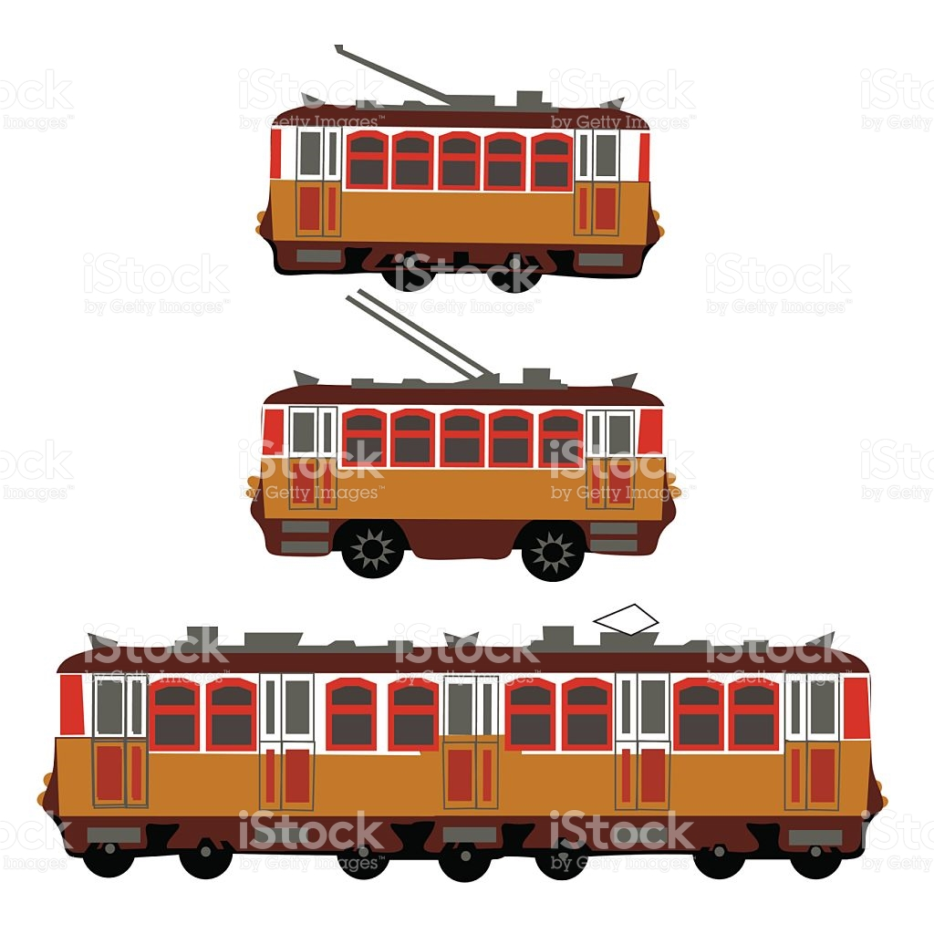 Vintage Tram Electric Train Trolleybus Retro Detail View Of The.