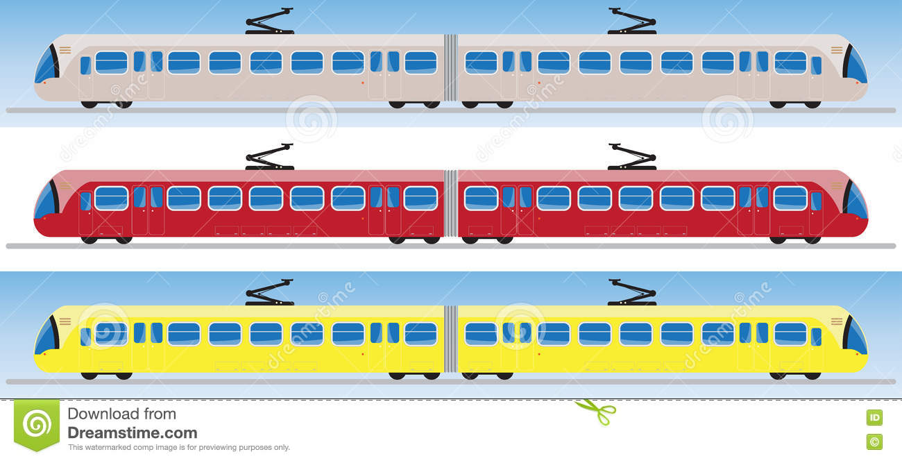 Side View Of Tram Car Or Trolley Car Stock Vector.