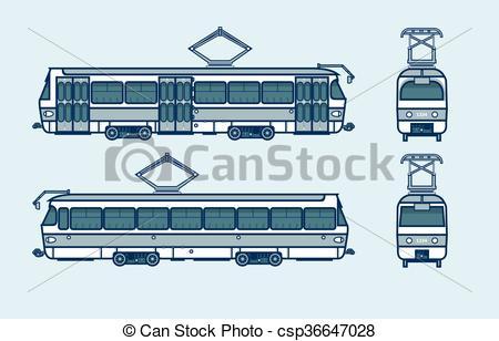Vector Illustration of dark blue tram front, side, back view line.