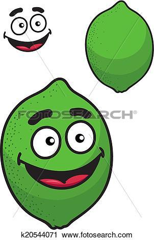 Clipart of Fresh tangy green cartoon lime or lemon k20544071.