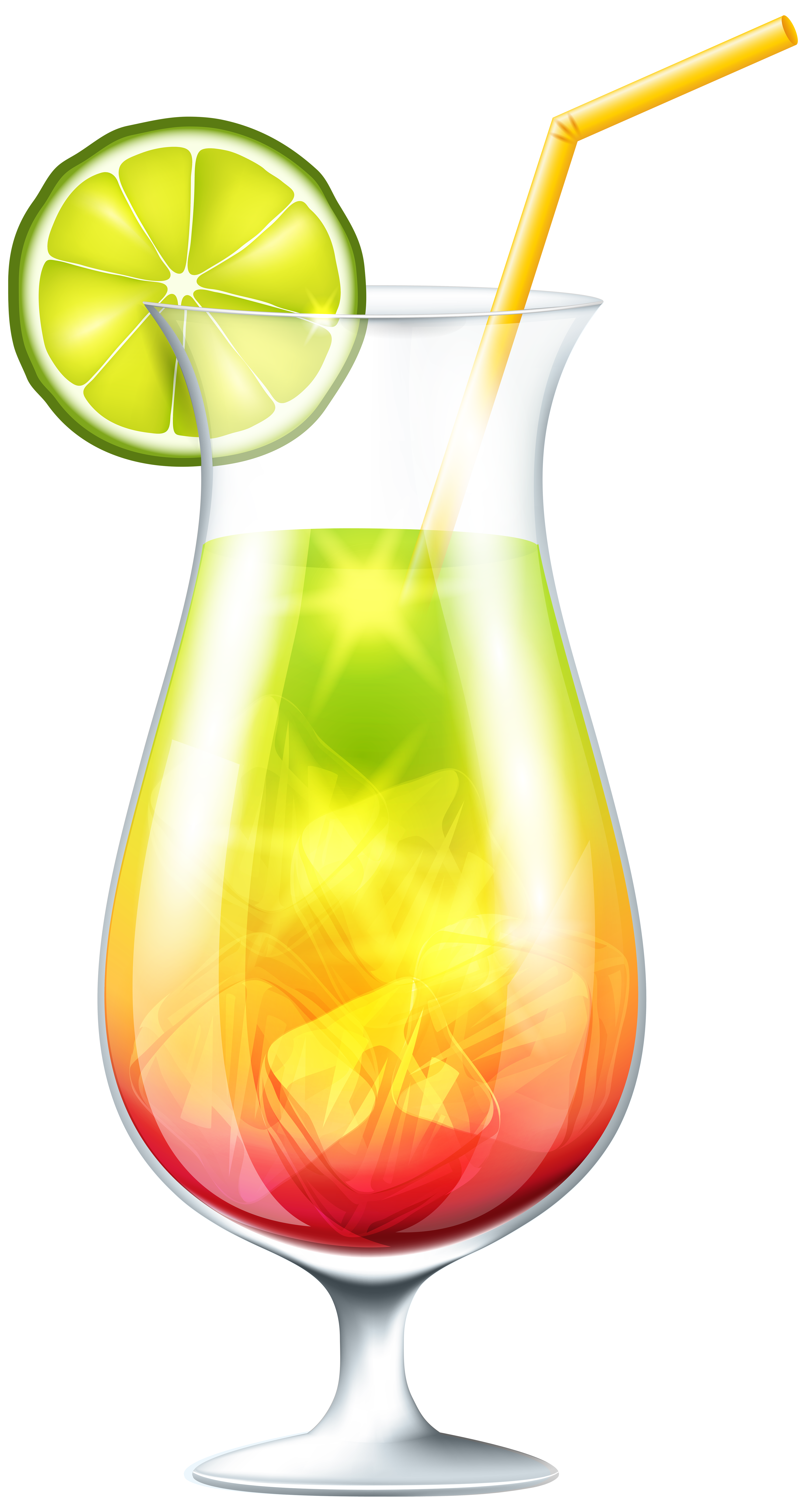 Cocktail with Lime PNG Clip Art Image.