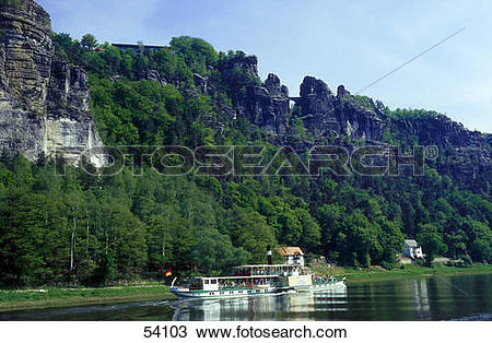 Stock Photo of Tourists on steamboat in river, Elbe River, Bastei.