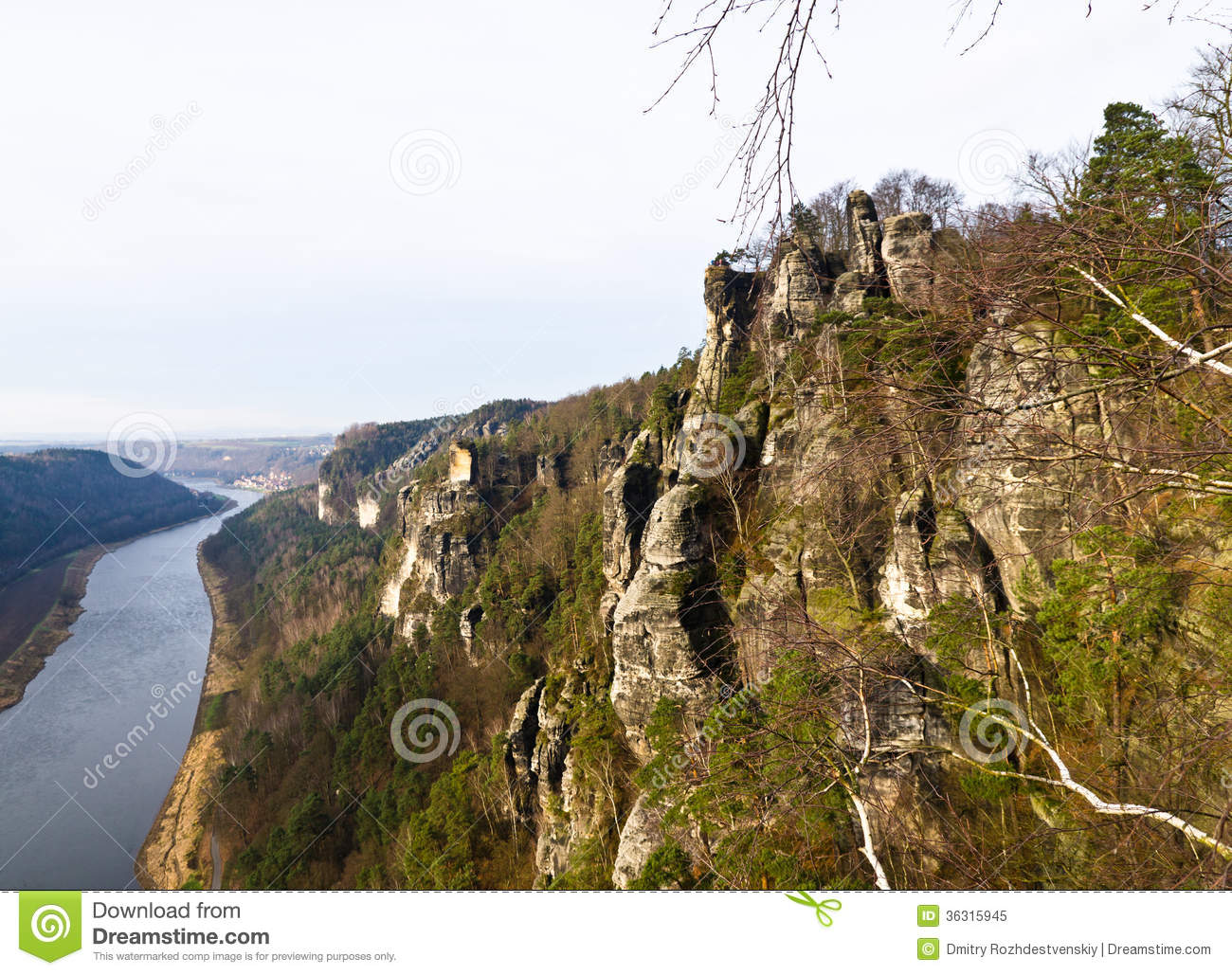 Elbe View From Bastei Royalty Free Stock Photo.