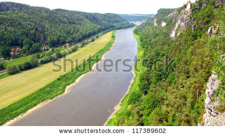 Elbe Saxon Switzerland River View Stock Photos, Royalty.