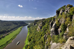 Top View To Elbe. Village Is On The River Bank Stock Photo.