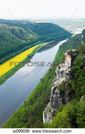 Stock Image of River Elbe from Bastei Rocks, Saxon Switzerland.