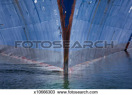 Stock Photo of Ship hull in the water, Antarctica. The prow.